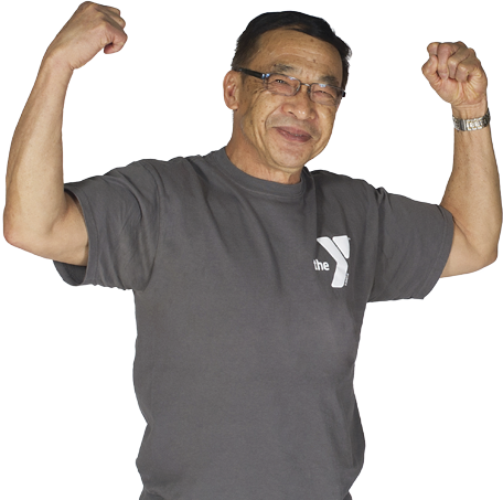 A person flexing their arms in the 'make a muscle' pose